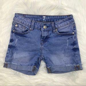 7FAM Girl's Acid Wash Jean Shorts 7 I0811